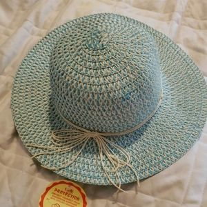 Vintage J hats Sun Protection Turqouise and White